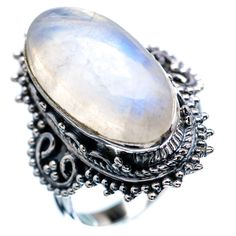 RAINBOW MOONSTONE 925 STERLING SILVER RING SIZE 7.25 JEWELRY