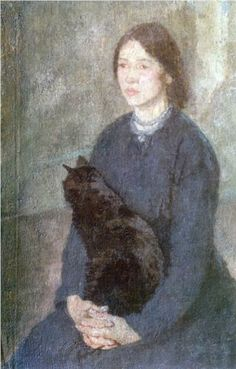 Gwen John (1867-1939) : Young Woman Holding a Black Cat, c. 1920. Tate Britain, London, England.