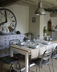 This dining room feels rustic and industrial