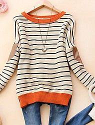 Women's Round Collar Fashion Stripe Long Sleeve Sweater #LightInTheBoxFavorties