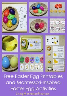 Lots of free Easter egg printables and Montessori-inspired ideas for using some of those printables to create inexpensive, Montessori-inspired Easter egg activities