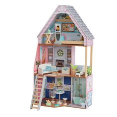 Take the farmhouse trend to a new level with the gorgeous and classic KidKraft Matilda Dollhouse! Featuring three floors, a bathtub, pretty pink details and stylish furniture, this haven for dolls is a perfect representation of classic southern st Matilda, Doll Toys, Barbie Dolls, Motifs Roses, Wood Staircase, Wooden Dollhouse, Dollhouse Ideas, Dollhouse Miniatures, Little Doll
