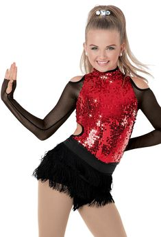 Weissman™ | Long-Sleeve Sequin Cutout Leotard