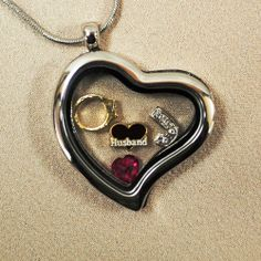 """""""Loss of Husband"""" Heart Locket with Charms - Memorial Jewelry"""
