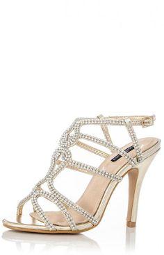 Gold Diamante Loop Sandals