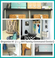 Wow-- lots of great ideas for making a 'mudroom'! Finally get all your shoes and coats organized! Family Organization Ideas: DIY Mudroom & Family Command Center #organization #organized via www.makinglemonad...