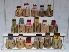 Mini Houses, Wooden Houses, Upcycle, Miniatures, Wood Cabins, Upcycling, Wooden Cottage, Upcycled Crafts, Miniature