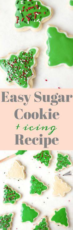 Easy Sugar Cookie and Icing Recipe #cookies #sugarcookies #icing #sprinkles #easycookies #christmas #holiday #dessert