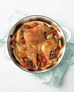 Spatchcocked Chicken with Tomatoes - You don't have to spatchcock this, but these flavors would be wonderful... It's an Italian roast chicken!