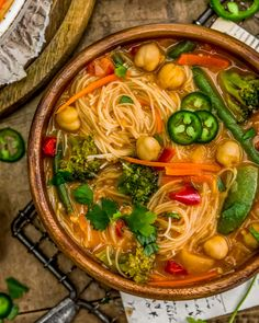 This healthy, wholesome, and utterly delicious Thai Curry Chickpea Noodle Soup is super easy, comes together in 20 minutes, and is pure Thai curry heaven. #wholefoodplantbased #vegan #oilfree #glutenfree #plantbased | monkeyandmekitchenadventures.com