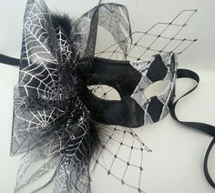 Harlequin masquerade mask black and silver by MasksbyDebbsElliman