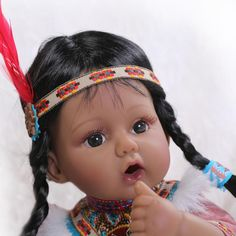 New Arrival Indian Silicone Reborn Baby Girls Dolls Bebe Reborn Kids Toys Adora Native American Indian GIRL Dolls Collection TOY#toy