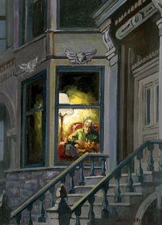 Brownstone by Francis Livingston Light Painting, House Painting, Painting & Drawing, Through The Window, Window Art, Naive Art, City Art, Color Themes, American Artists
