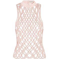 Balenciaga Latticed satin top, Pink, Women's, Size: 34 (€1.330) ❤ liked on Polyvore featuring tops, balenciaga, print top, balenciaga top, patterned tops and mixed print top
