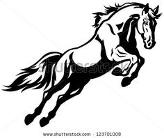 jumping horse,black white picture isolated on white background,vector illustration - stock vector