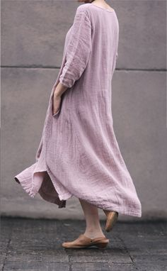 Pink women dress Cotton Linen women dress Long by fashiondress6