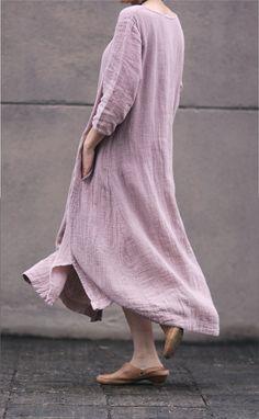 Pink women dress Cotton Linen women dress