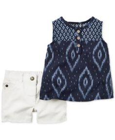 Chic and super-stylish, this Carter's outfit bring baby girl relaxed sunny-day style with a printed tank and shorts with an elastic waistband for a comfy fit and easy changes. | Top: linen/viscose; sh