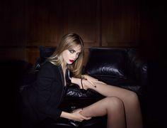General 5682x4351 Cara Delevingne model actress blonde green eyes red lip stick jacket legs high heels bracelets