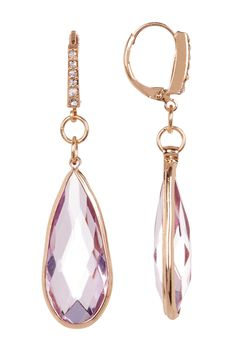 Bezel Set Teardrop Crystal Drop Earrings