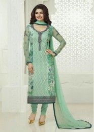 Casual Wear  Georgette Green Embroidered Work Churidar Suit