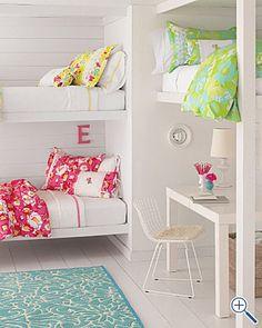 Dormitorio para tres niñas  http://visioninteriorista.com/2013/03/decoracion-infantil-dormitorios-para-tres-ninas/