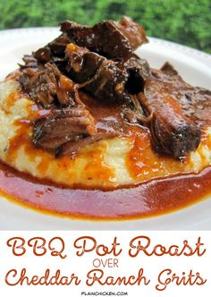 BBQ Pot Roast over Cheddar Ranch Grits - chuck roast slow cooked in a homemade BBQ sauce and served over Quick Cheddar Ranch Grits - this pot roast is SOOO good! I wanted to lick my plate! EVERYONE LOVES this pot roast!                                                                                                                                                                                 More