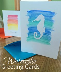 Watercolor Greeting Card w envelopes