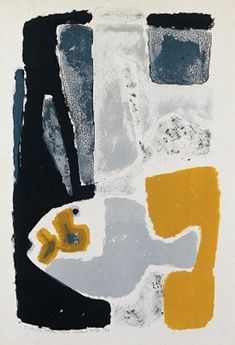 'Abstract Composition with Fish' 1956 lithograph 15 x 23 inches Lithograph, inscribed in pencil 'To Henry Cliffe from Clifford Ellis '56'