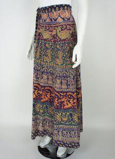 Vintage 70's Maxi Indian Wrap Skirt by foundationvintage on Etsy