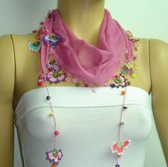 Crocheted CHERRY PINK scarf with handmade multi by istanbuloya, $17.00