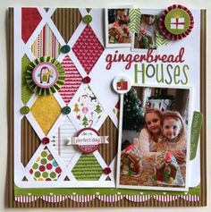 """""""Gingerbread Houses"""", by Amy Peterman. Love the different patterns in the memo board style."""