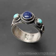 TAXCO MEXICO SLEEPING BEAUTY TURQUOISE & LAPIS LAZULI STERLING SILVER HEARTS BAND RING - SIZE 9.5 – Gold Stream Boutique