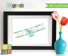 Watercolor Biplane Print, aqua-teal color, Watercolor silhouettes, plane, airplane, Nursery Print, Transportation, Item  WC040 by InkSprouts on Etsy https://www.etsy.com/listing/231492553/watercolor-biplane-print-aqua-teal-color