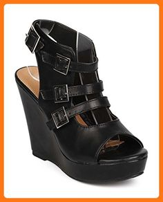 Nature Breeze ED48 Women Leatherette Peep Toe Caged Slingback Wedge Sandal - Black (Size: 7.0) (*Partner Link)