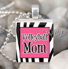 Volleyball Mom - Zebra - Scrabble Tile Charm Necklace