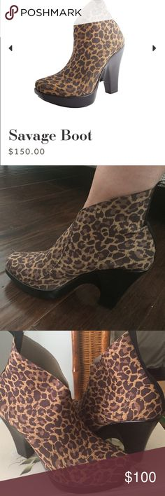 Charleston Shoe Company Savage Boot size 9 high design bootie is the Savage!  Looks fierce and feels fine! So comfy; have injured my ankle and can no longer wear the high heel. Only worn 2 times   Size 9 Approximately 4″ heel and 1″ platform on toes Runs wide Machine washable Charleston Shoe Co Shoes Ankle Boots & Booties
