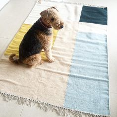These Kelim Carpets Merge Together Strong Geometrical Shapes and Warm, Muted Tones - Ferm Living Merge and Borders Kelim Rug Designs Cute Animal Illustration, Selection, Airedale Terrier, Carpet Colors, Weaving Techniques, Danish Design, Scandinavian Design, Cute Animals, Creatures