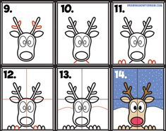 Learn How to Draw Rudolph the Red Nosed Reindeer Looking in Window Simple Steps Drawing and Art Lesson for Kids on Christmas