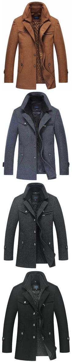 US$64.88 Winter Business Casual Double Collar Thicken Warm Pure Color Wool Overcoat For Men#fashion winter#fashion
