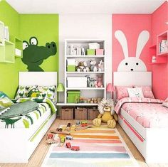 Boy And Girl Shared Bedroom, Shared Rooms, Girls Bedroom, Bedroom Decor, Quirky Bedroom, Childs Bedroom, Kid Bedrooms, White Bedroom, Toddler Rooms