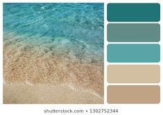Ocean Color Palette, Beach Color Palettes, Beach Color Schemes, Beige Color Palette, House Color Palettes, Bedroom Colour Palette, Color Schemes Colour Palettes, Bathroom Color Schemes, Paint Color Schemes