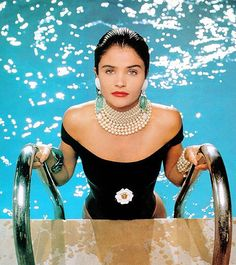 Jewelry for the pool … Helena Christensen, Chanel. Photography by Karl…