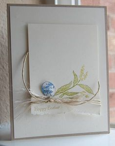 Stampin Up: Nature Walk. Clean and simple card. Like the use of twine and dimensional egg. #StampinUp