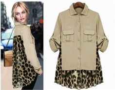 Asym Chiffon Leopard Long Sleeve Shirt Blouse