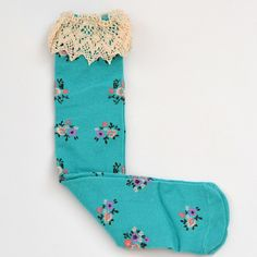 Girls Knee-Highs, Frilly Floras with Lace Trim! https://www.peekypie.com/frilly-florals