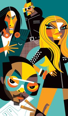 Pablo Lobato: The Black Eyed Peas Art Pop, Black Eyes Peas, Cubist Art, Graphic Design Print, Graphic Illustration, Drawing Tutorials, Illustrators, Retro, Drawings