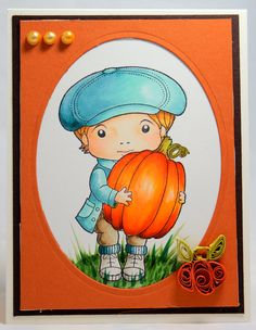 Copic card using the La-La Land Crafts - Luka with Pumpkin stamp.  Made by Marie