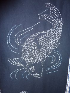 "Koi pattern from the book ""Japanese Sashiko Insprations"" by Susan Briscoe..........beautiful...I am stitching this one myself"