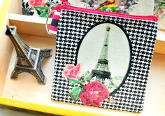 Vintage Eiffel Tower with Roses & Houndstooth Background Square Canvas Purse/Wallet Coins Pouch Decoupage Bag Zip Pouch Key Ring Purse EUR) by AllAboutDekka Purse Wallet, Coin Purse, Pouch, Canvas Purse, Decoupage Art, Square Canvas, Note Paper, Key Rings, Houndstooth